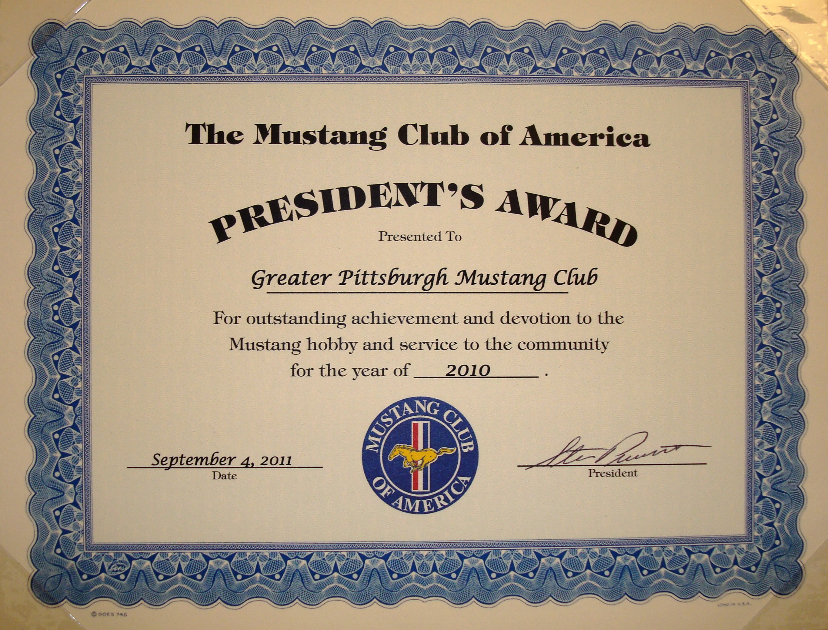 Mustang Club Of America >> MCA President's Awards | The Greater Pittsburgh Mustang Club