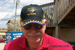 Ron, showing a hat Gary made for GPMC members who made the trip to Charlotte the previous week